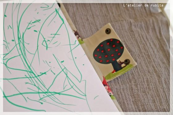 L'atelier de rubita // Le cahier du chaperon rouge :  sac à dessin en coton enduit