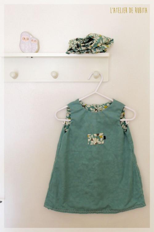 L'atelier de rubita // Ensemble vert pour petite fille